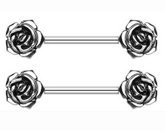 ONE PC Piercing 316L Surgical Steel Sexy Double Rose Flower Nipple Barbell Ring /ZM1