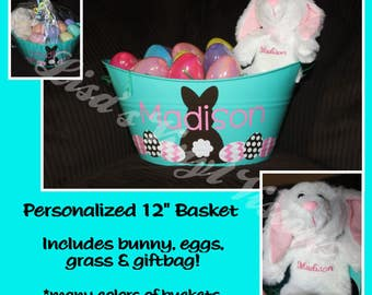 EGGS Personalized Easter Basket AND Bunny (includes grass, eggs & giftbag too) all ready for EASTER morning...just add candy!!