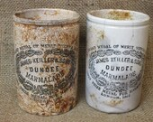 Two Old James Keiller Dundee Marmalade Stoneware Jars~Pots~Pair