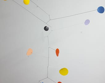 Modern mobile - orange yellow white blue - home decor - modern home - up cycled home - minimal home - kids room - eco home