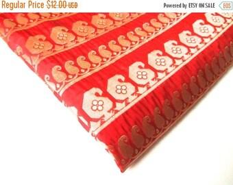 ON SALE Red gold paisley silk brocade fabic nr 116 fat quarter