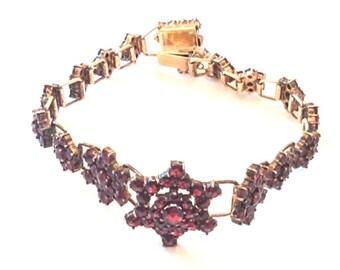 Bohemian Garnet Bracelet, Victorian, Vermeil, European Silver 800, Vintage Jewelry WINTER Sale