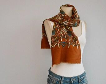 Vintage Wool Challis Scarf / Art Deco Print Fringed Wool Oblong Scarf