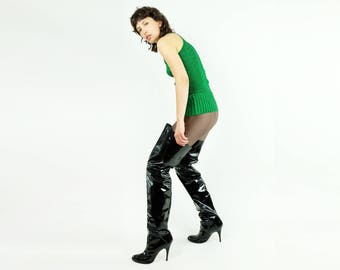 True Vintage Patent Leather Over the Knee Boots