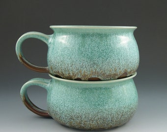 Soup Bowl in Aqua and Brown Handmade Pottery