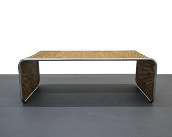 Mid Century Woven Bamboo Ratan and Chrome Waterfall Coffee Table Bench Probber