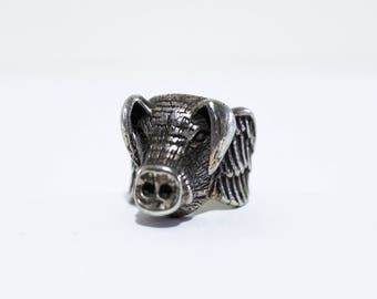 Vintage Mens Biker Ring Flying Pig Silver Plated Size 9 1/4 by G&S 1985