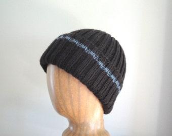 Mens Knit Hat, Dark Brown Blue Stripe, Smart Hat, Hand Knit, Watch Cap, Beanie Toque, Knit Hat with Brim