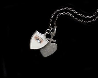 Sandra Hendler-MercurysMoon- Original Hand Painted Miniature Lovers Eye Painting in Antique French Solid Silver Shield Locket Necklace