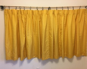Vintage Curtains, short yellow curtains, vintage gold curtains, vintage drapes