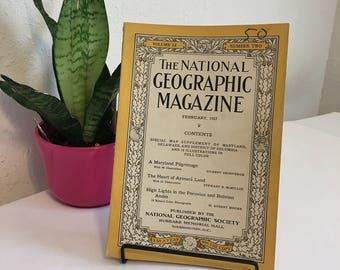 Vintage Magazine, February 1927, National Geographic, free shipping US & Canada
