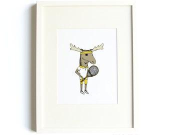 Tennis Moose Print - Tennis Art, Sports Print, Moose Art, Sports Nursery, Athletic, Playing Sports, 8x10 Print