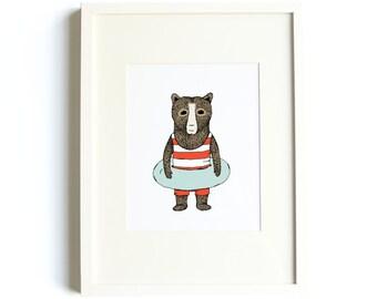 Swimming Bear Print - Bear Art, Adventure Art, Swim Print, Pool Decor, Nursery Decor, 8x10 Print