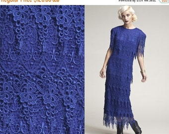 50% OFF ENTIRE STORE Vintage Stunning  80s 90s Crochet Lace Tiered Maxi Blue Dress // Cobalt Blue