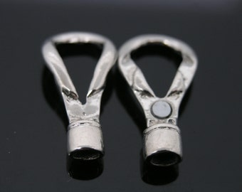 5-Sets 5.0mm Rhodium Marine Knot Tone Magnetic Leather End Cap/Lobster Clasp/Buckle For Round Leather Cord--CLP1302R