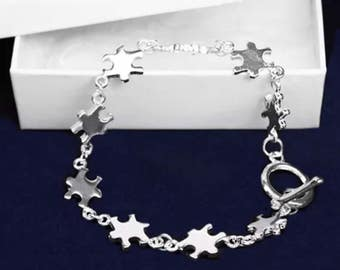 Silver link  Autism Support Awareness Bracelet Stretch Gift Box