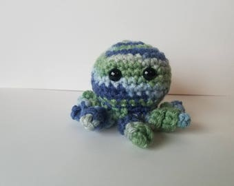 Crochet Octopus Blue and Green Crochet Toy Amigurumi