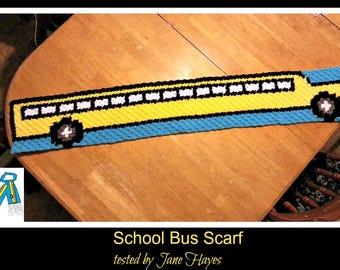 School Bus Scarf, C2C Graph, Crochet Pattern