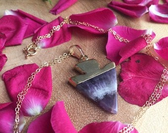 LOVE WARRIOR amethyst gold dipped arrow 14 kt real stone necklace