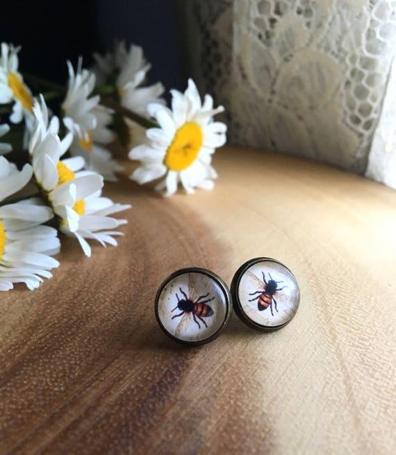 BEEZ KNEEZ honey bee inspired round glass studs nickel free earrings