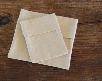Organic Reusable Sandwich Bag Set (Small and Medium) -- Organic Unbleached Cotton Muslin Double Layer