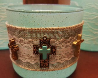 3 piece light teal bathroom container set with lace & cross accents