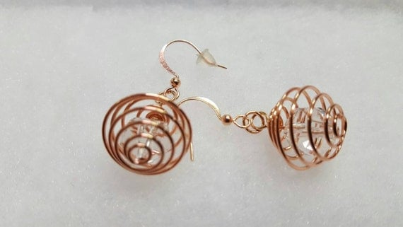 Rose gold crystal earrings - clear