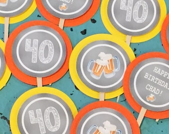 CHEERS & BEERS 30th 40th 50th 60th Party Cupcake Toppers 12 {1 Dozen} - Party Packs Available