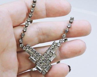 Vintage Rhinestone Necklace, Bridal Necklace, Mid Century