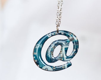 Circuit at necklace - computer geek gift - symbol necklace - contemporary Statement Necklace - recycled computer jewelry