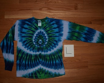 Tie Dye T-Shirt ~ Aqua Spider Spiral with White Stripes C_0145 Long Sleeve Adult Large