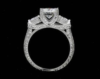 Three Stone Engagement Ring, Hand Engraved Moissanite Ring, Forever One Moissanite Proposal Ring, Edwardian Style Ring, 14k White Gold Ring