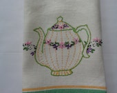Heavy Vintage Off White Linen Towel With Embroidery