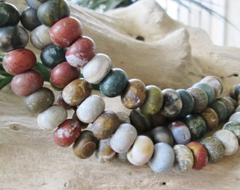 Large Hole Ocean Jasper 12MM Rondelle Matte Finish 12 Big 2.5 mm Hole Beads Fit Leather