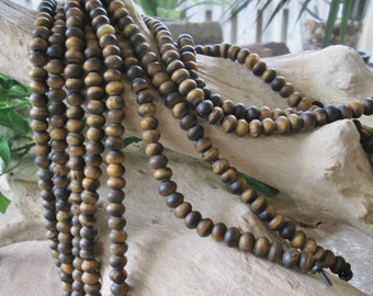 Big Hole Bead 8 mm Rondelle Yellow Tiger Eye Matte Finish Large Hole Fits Leather Cord  34-38 beads