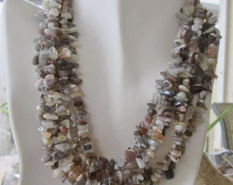 """3 Strands Botswana Agate Natural Gemstone Chip Small- Med. each 35"""" approx 105"""" Total"""