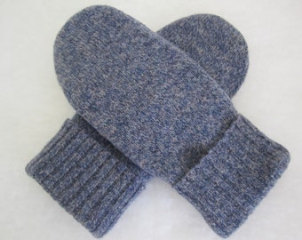 Men's mittens pure wool size medium fleece-lined blue tweed ready to ship