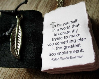 book necklace inspirational quote from emerson miniature handstitched book jewelry for women feather charm eco friendly leather journal