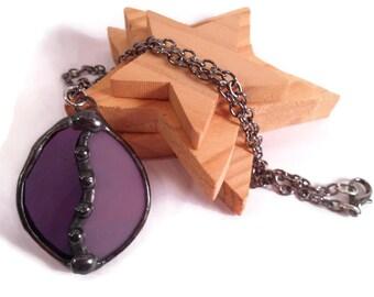Jewelry Pendant Stained Glass Jewelry Purple Pendant Handmade Jewelry Glass and Metal Jewelry Purple Glass Necklace Unique Pendant Jewelry