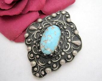 Art Deco Aqua  Brooch - Silver Repousse - Glass Cabochon - Boho Chic