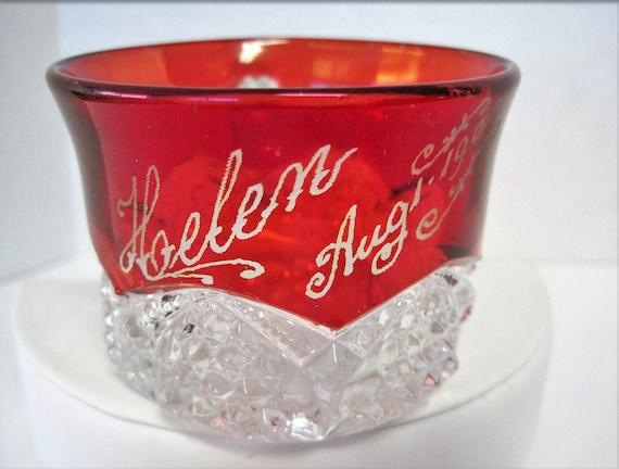 Ruby Flash Glass Cup - Victorian Era - Helen Aug. 1903  Souvenir - Holiday decor