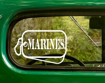 Marine Dog Tag Decal, Marine Decal, US Military Decal, Marine Sticker, Military Sticker, Car Decal, Laptop Sticker, Vinyl, Car Stickers