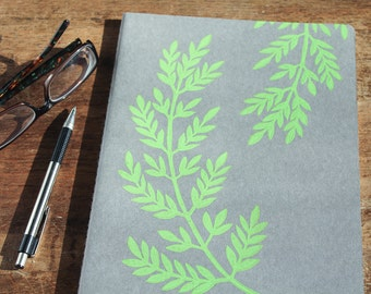 Fern Journal, XL, lined, gray cahier journal, hand printed, green ink