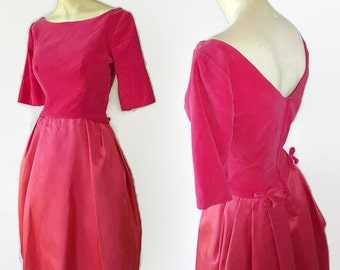 40%OFFSALE 50s 60s Pink Velvet Satin Party Prom Vintage Wedding Tulle Petticoat