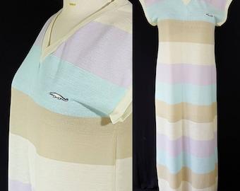 Izod Lacoste Maxi Dress, Rainbow Stripes, Swimsuit Coverup