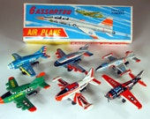 Box with 6 Tin Vintage Friction Airplanes by TK & 2 extra Empty Boxes, Japan, late 50's, early 60's
