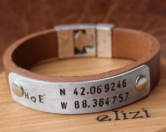 Anniversary Gift Personalized Gift for men Leather Bracelet Leather Man Bracelet Mens Anniversary Gift for Husband Gift
