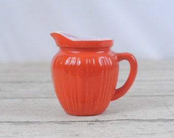 Vintage 50's Hazel Atlas Creamer Pitcher 8oz Bright Orange Fired-On Milk Glass
