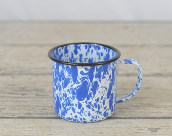 Antique Blue Mottled Swirl Graniteware Cup Mug Granite Ware Enamel Ware  Cup 2