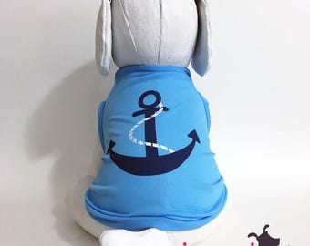 Blue Anchor Nautical Summer Dog Tank